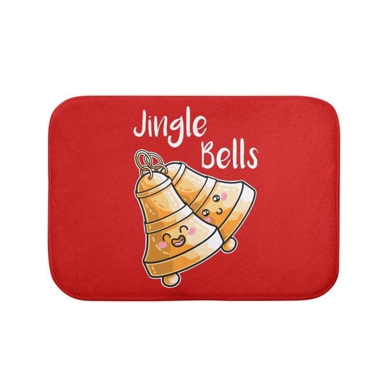 Kawaii Cute Christmas Jingle Bells Home Bath Mat by Flaming Imp's Artist Shop