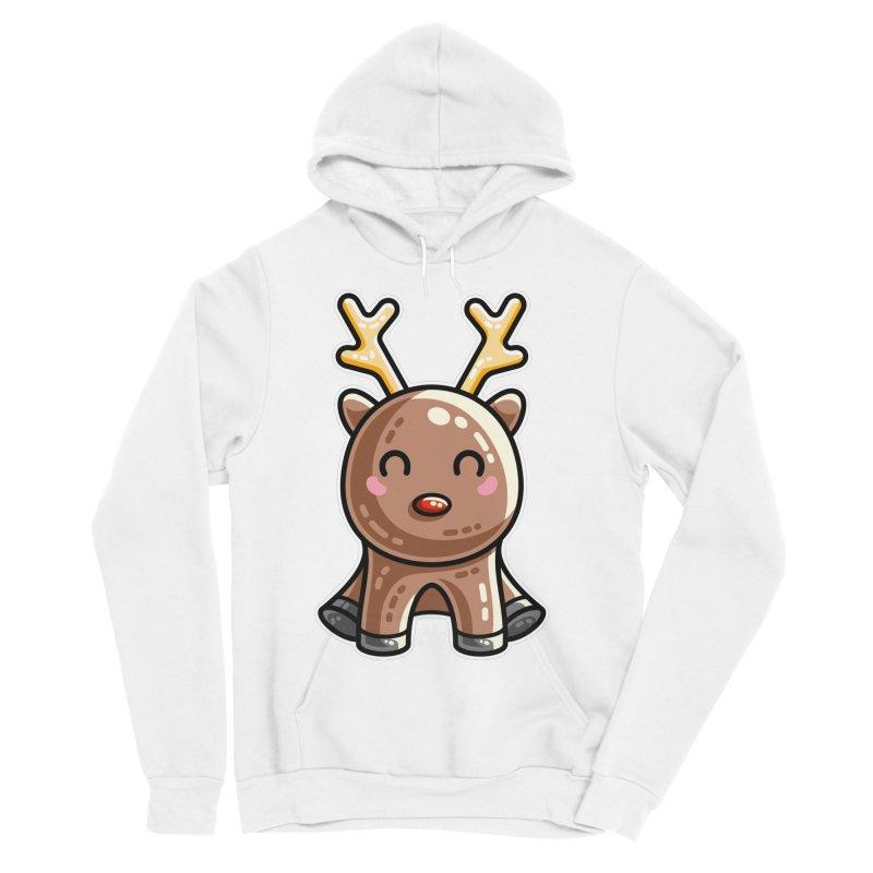 Kawaii Cute Red Nosed Reindeer Men's Sponge Fleece Pullover Hoody by Flaming Imp's Artist Shop