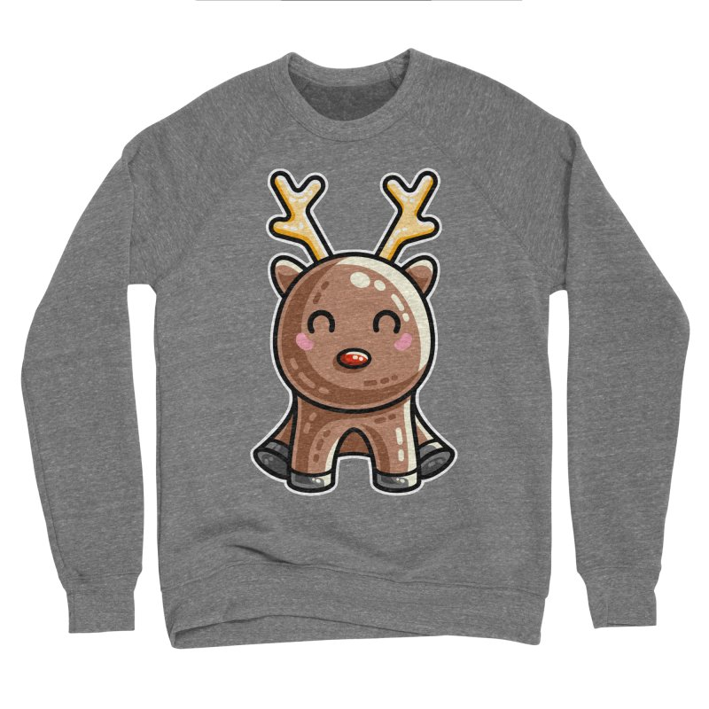 Kawaii Cute Red Nosed Reindeer Men's Sponge Fleece Sweatshirt by Flaming Imp's Artist Shop