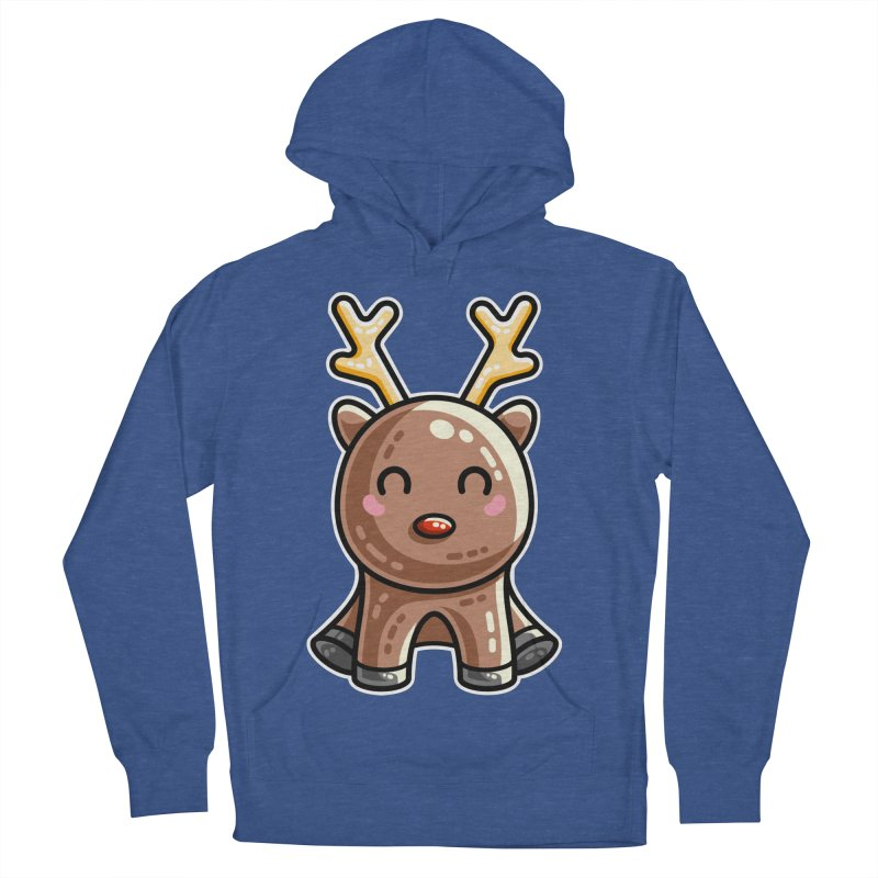 Kawaii Cute Red Nosed Reindeer Men's French Terry Pullover Hoody by Flaming Imp's Artist Shop