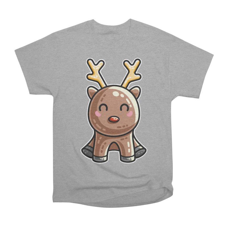 Kawaii Cute Red Nosed Reindeer Men's Heavyweight T-Shirt by Flaming Imp's Artist Shop