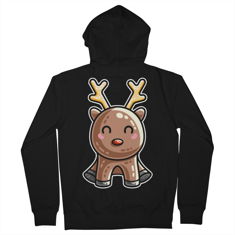 Kawaii Cute Red Nosed Reindeer Women's French Terry Zip-Up Hoody by Flaming Imp's Artist Shop