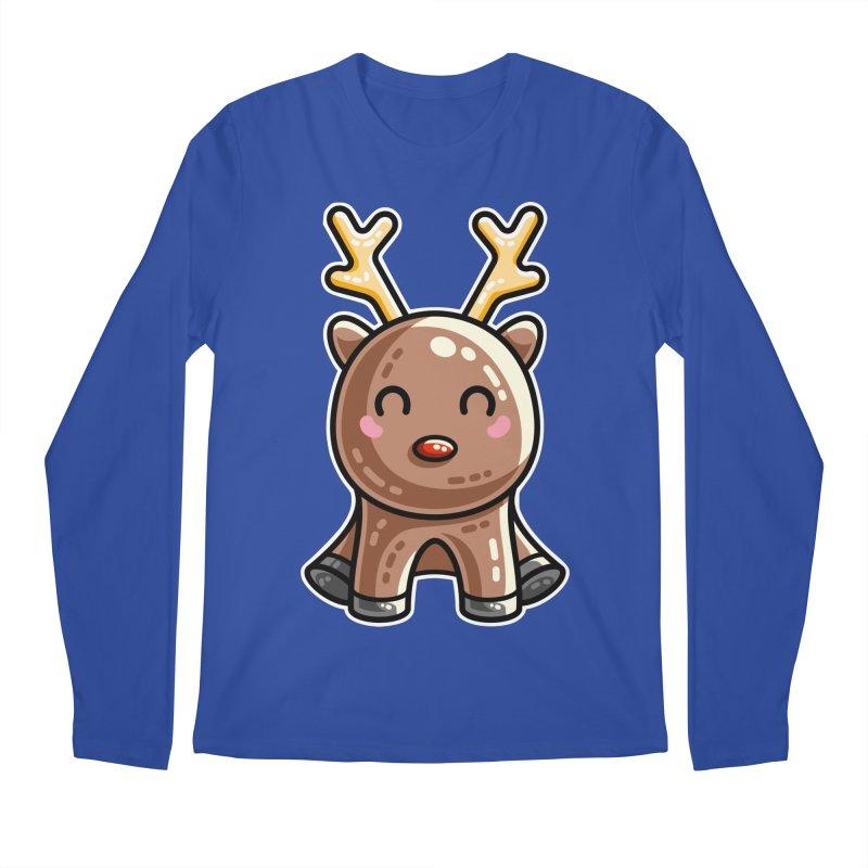 Kawaii Cute Red Nosed Reindeer Men's Regular Longsleeve T-Shirt by Flaming Imp's Artist Shop