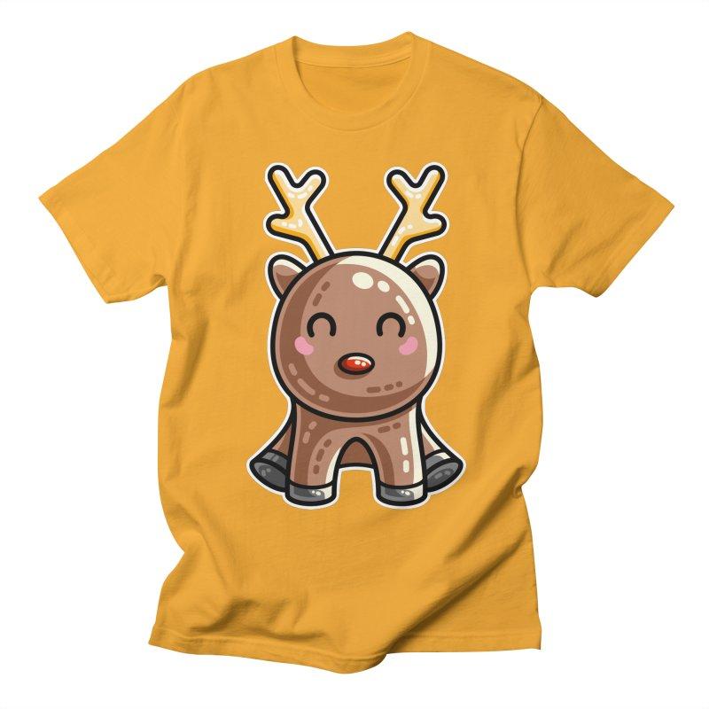 Kawaii Cute Red Nosed Reindeer Men's Regular T-Shirt by Flaming Imp's Artist Shop