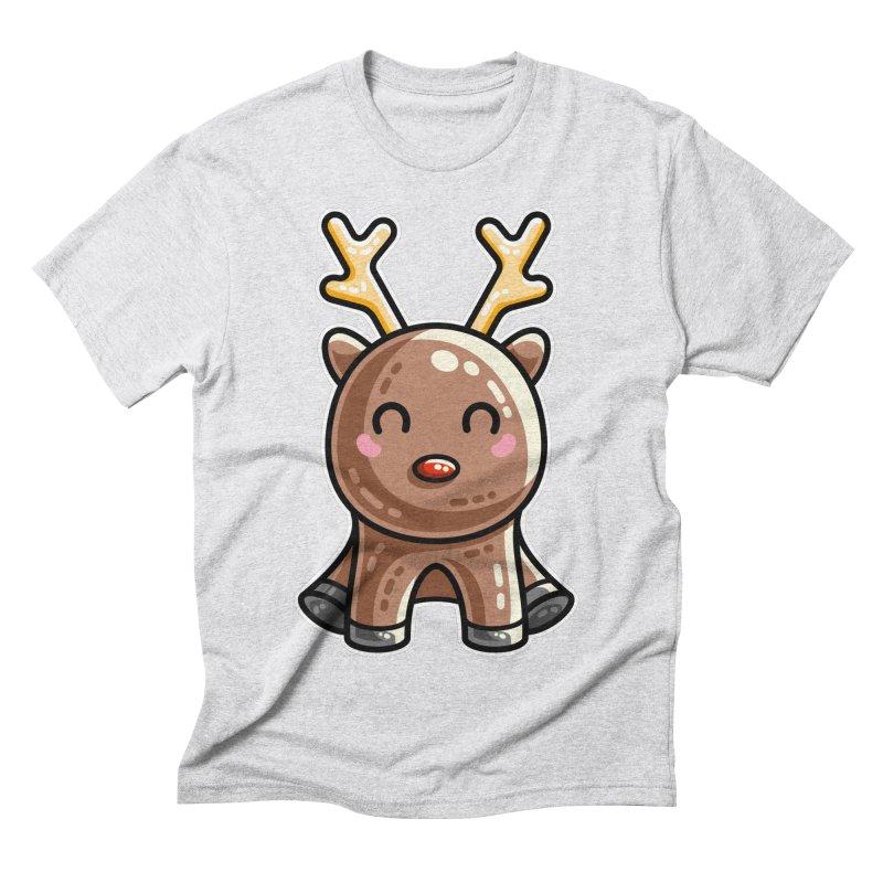 Kawaii Cute Red Nosed Reindeer Men's Triblend T-Shirt by Flaming Imp's Artist Shop