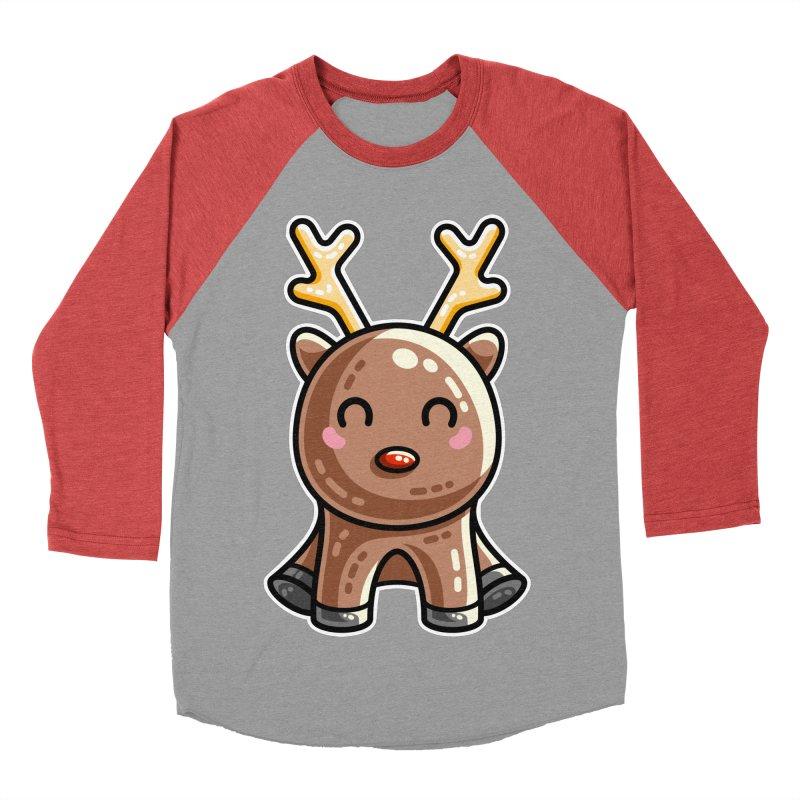 Kawaii Cute Red Nosed Reindeer Men's Baseball Triblend Longsleeve T-Shirt by Flaming Imp's Artist Shop