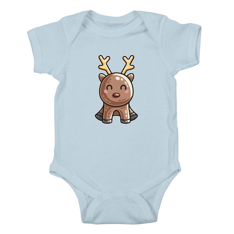 Kawaii Cute Red Nosed Reindeer Kids Baby Bodysuit by Flaming Imp's Artist Shop