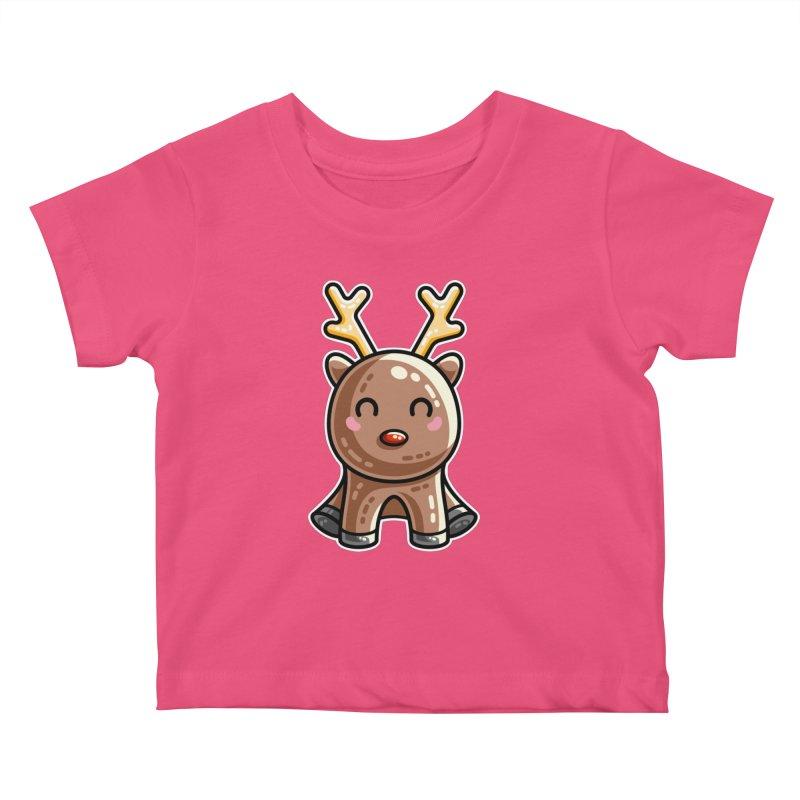 Kawaii Cute Red Nosed Reindeer Kids Baby T-Shirt by Flaming Imp's Artist Shop
