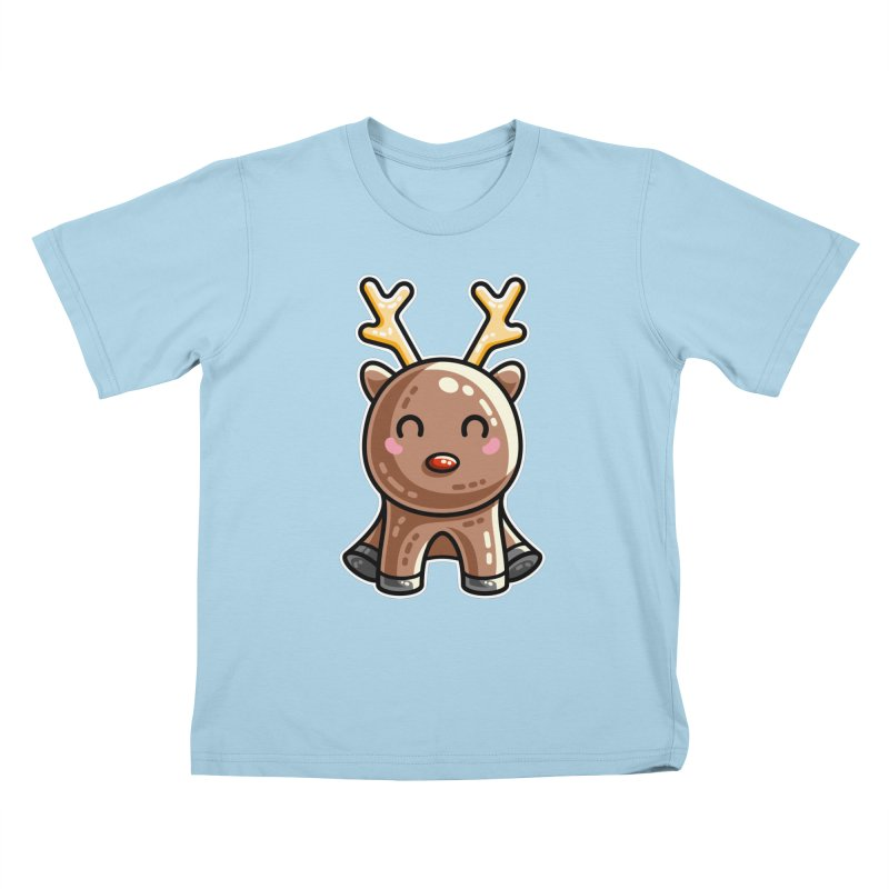 Kawaii Cute Red Nosed Reindeer Kids T-Shirt by Flaming Imp's Artist Shop