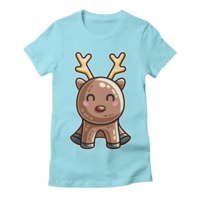 Kawaii Cute Red Nosed Reindeer Women's Fitted T-Shirt by Flaming Imp's Artist Shop