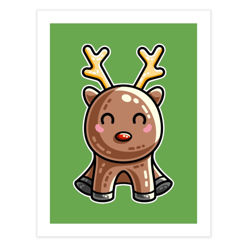 Kawaii Cute Red Nosed Reindeer Home Fine Art Print by Flaming Imp's Artist Shop