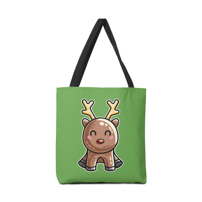 Kawaii Cute Red Nosed Reindeer Accessories Tote Bag Bag by Flaming Imp's Artist Shop