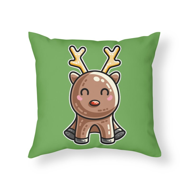 Kawaii Cute Red Nosed Reindeer Home Throw Pillow by Flaming Imp's Artist Shop