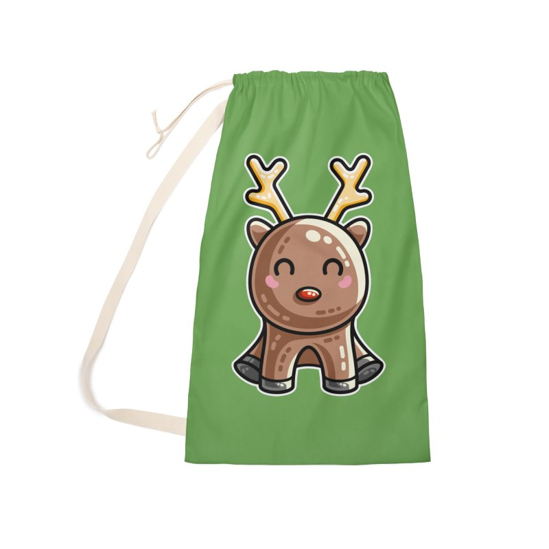 Kawaii Cute Red Nosed Reindeer Accessories Laundry Bag Bag by Flaming Imp's Artist Shop
