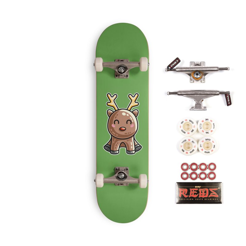 Kawaii Cute Red Nosed Reindeer Accessories Complete - Pro Skateboard by Flaming Imp's Artist Shop