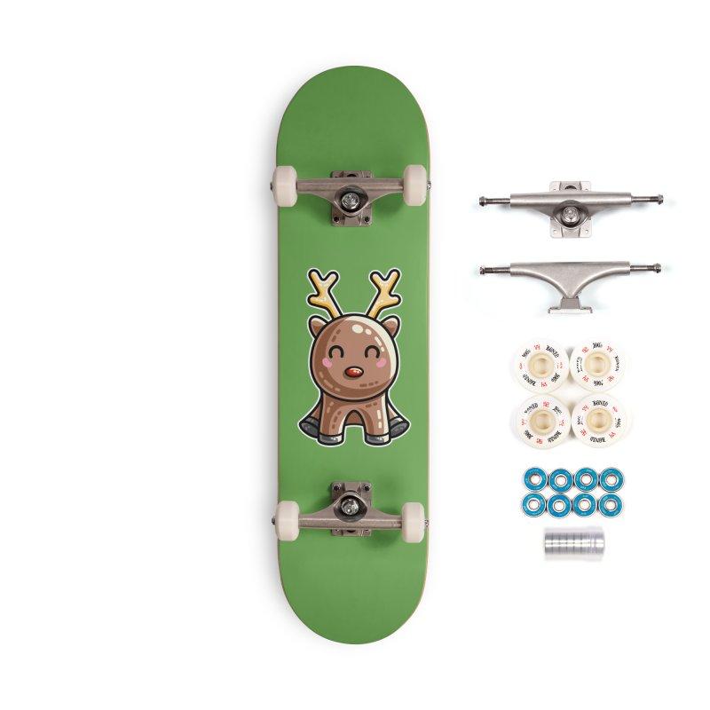Kawaii Cute Red Nosed Reindeer Accessories Complete - Premium Skateboard by Flaming Imp's Artist Shop