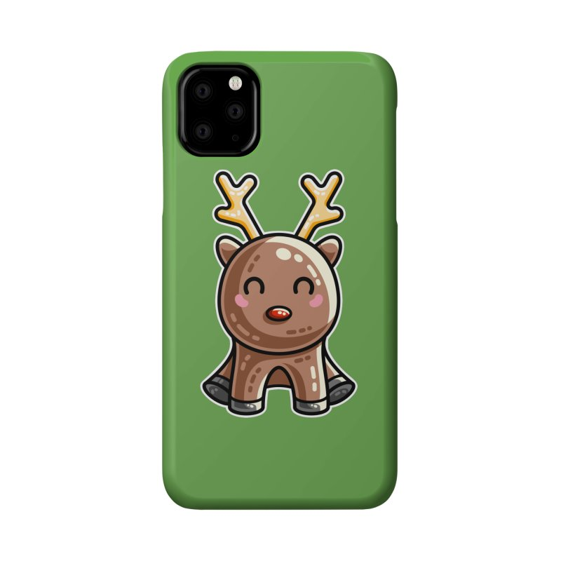 Kawaii Cute Red Nosed Reindeer Accessories Phone Case by Flaming Imp's Artist Shop