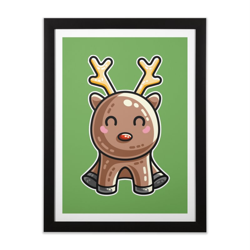 Kawaii Cute Red Nosed Reindeer Home Framed Fine Art Print by Flaming Imp's Artist Shop
