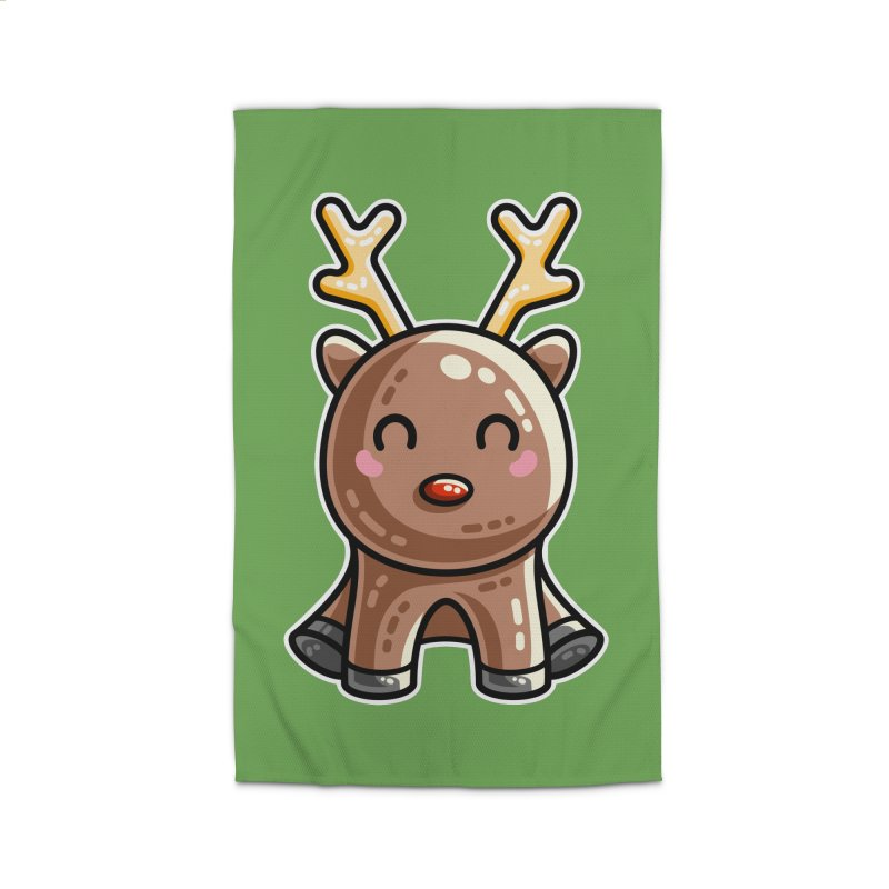 Kawaii Cute Red Nosed Reindeer Home Rug by Flaming Imp's Artist Shop