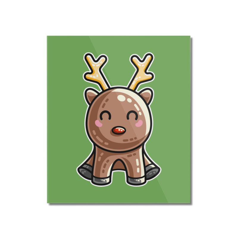 Kawaii Cute Red Nosed Reindeer Home Mounted Acrylic Print by Flaming Imp's Artist Shop