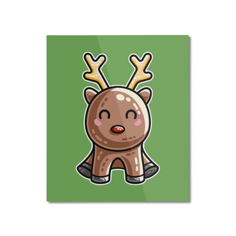 Kawaii Cute Red Nosed Reindeer Home Mounted Aluminum Print by Flaming Imp's Artist Shop