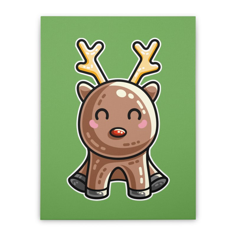 Kawaii Cute Red Nosed Reindeer Home Stretched Canvas by Flaming Imp's Artist Shop