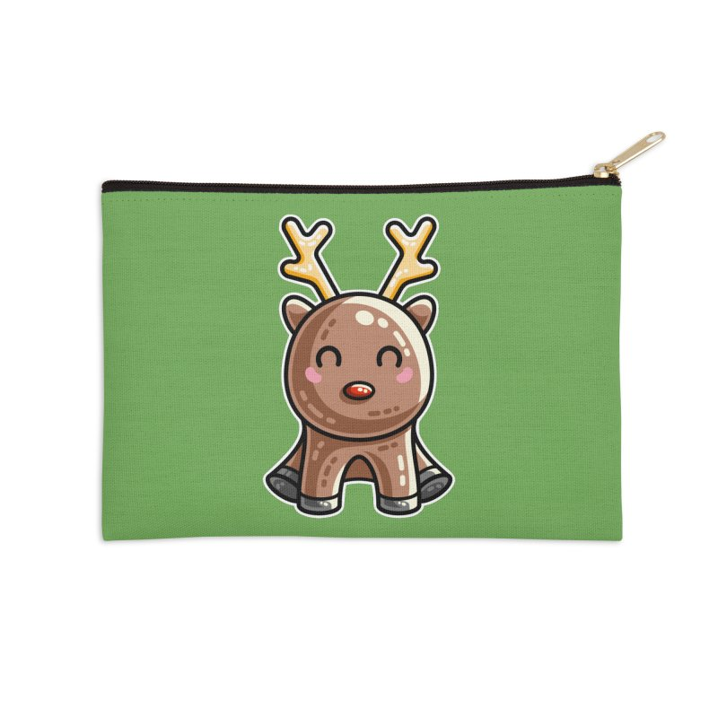 Kawaii Cute Red Nosed Reindeer Accessories Zip Pouch by Flaming Imp's Artist Shop