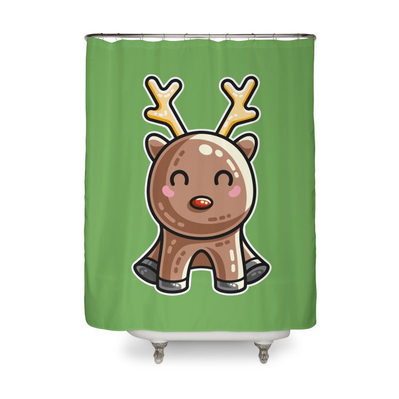 Kawaii Cute Red Nosed Reindeer Home Shower Curtain by Flaming Imp's Artist Shop