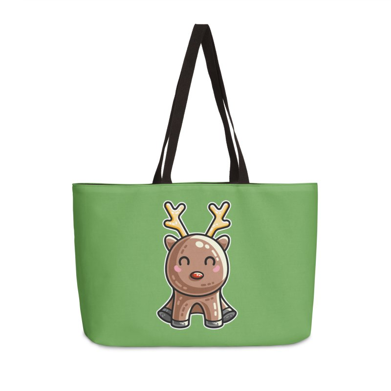 Kawaii Cute Red Nosed Reindeer Accessories Weekender Bag Bag by Flaming Imp's Artist Shop