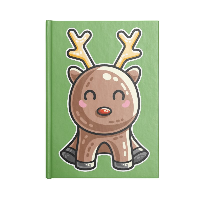 Kawaii Cute Red Nosed Reindeer Accessories Lined Journal Notebook by Flaming Imp's Artist Shop