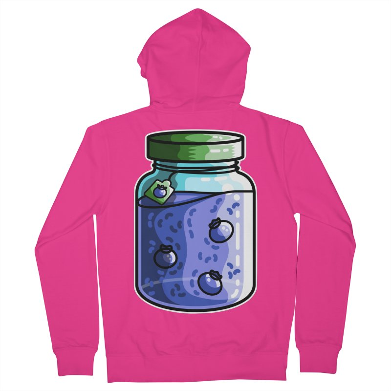 Cute Jar of Blueberry Jam Men's French Terry Zip-Up Hoody by Flaming Imp's Artist Shop