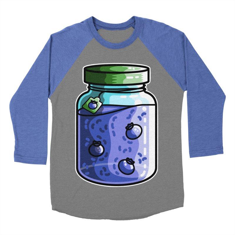 Cute Jar of Blueberry Jam Men's Baseball Triblend Longsleeve T-Shirt by Flaming Imp's Artist Shop
