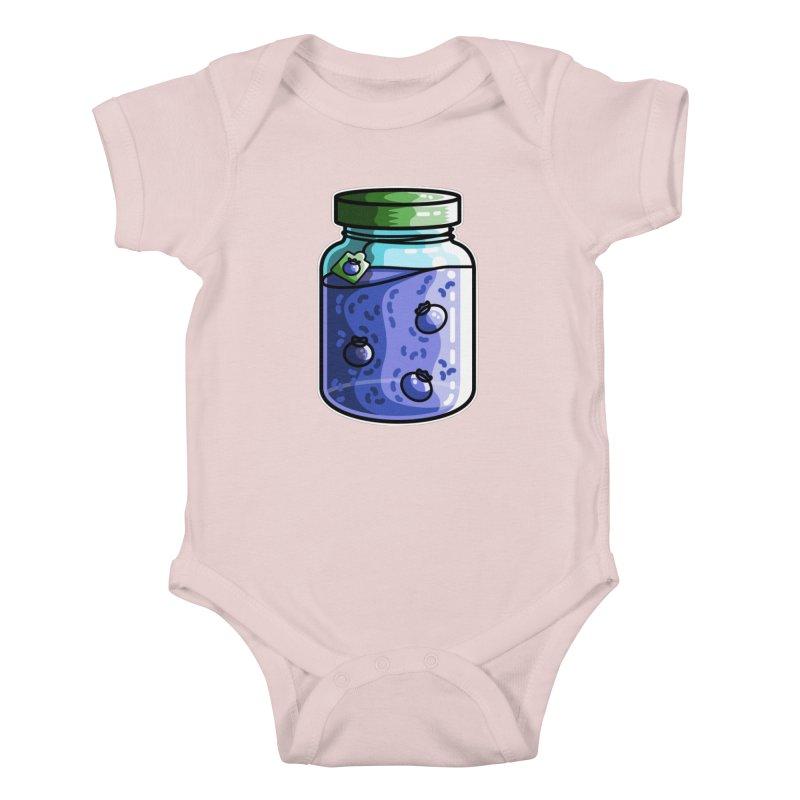 Cute Jar of Blueberry Jam Kids Baby Bodysuit by Flaming Imp's Artist Shop