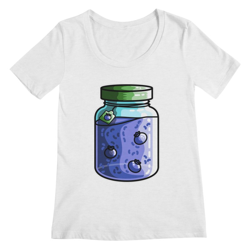 Cute Jar of Blueberry Jam Women's Scoop Neck by Flaming Imp's Artist Shop
