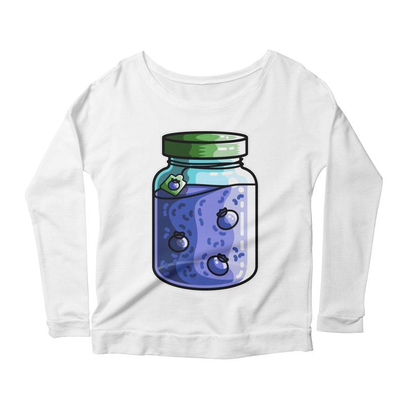 Cute Jar of Blueberry Jam Women's Scoop Neck Longsleeve T-Shirt by Flaming Imp's Artist Shop