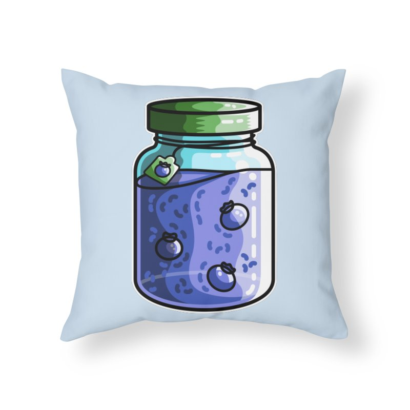 Cute Jar of Blueberry Jam Home Throw Pillow by Flaming Imp's Artist Shop
