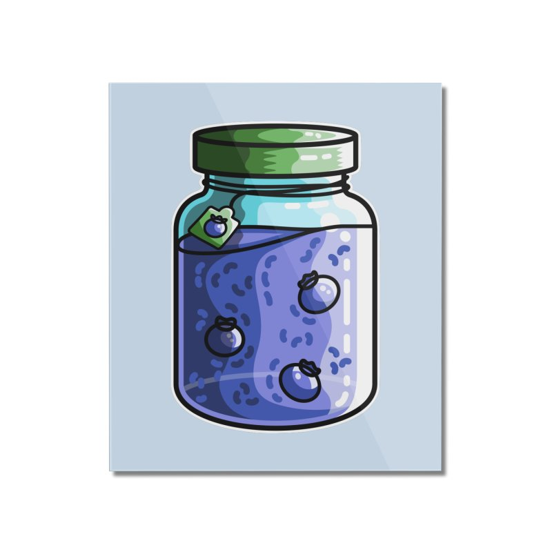 Cute Jar of Blueberry Jam Home Mounted Acrylic Print by Flaming Imp's Artist Shop
