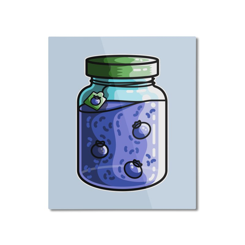 Cute Jar of Blueberry Jam Home Mounted Aluminum Print by Flaming Imp's Artist Shop