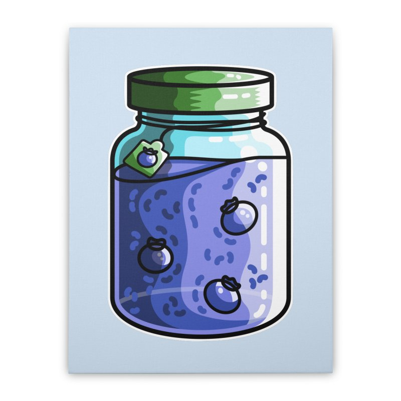 Cute Jar of Blueberry Jam Home Stretched Canvas by Flaming Imp's Artist Shop