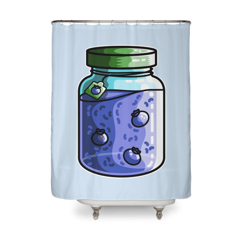 Cute Jar of Blueberry Jam Home Shower Curtain by Flaming Imp's Artist Shop