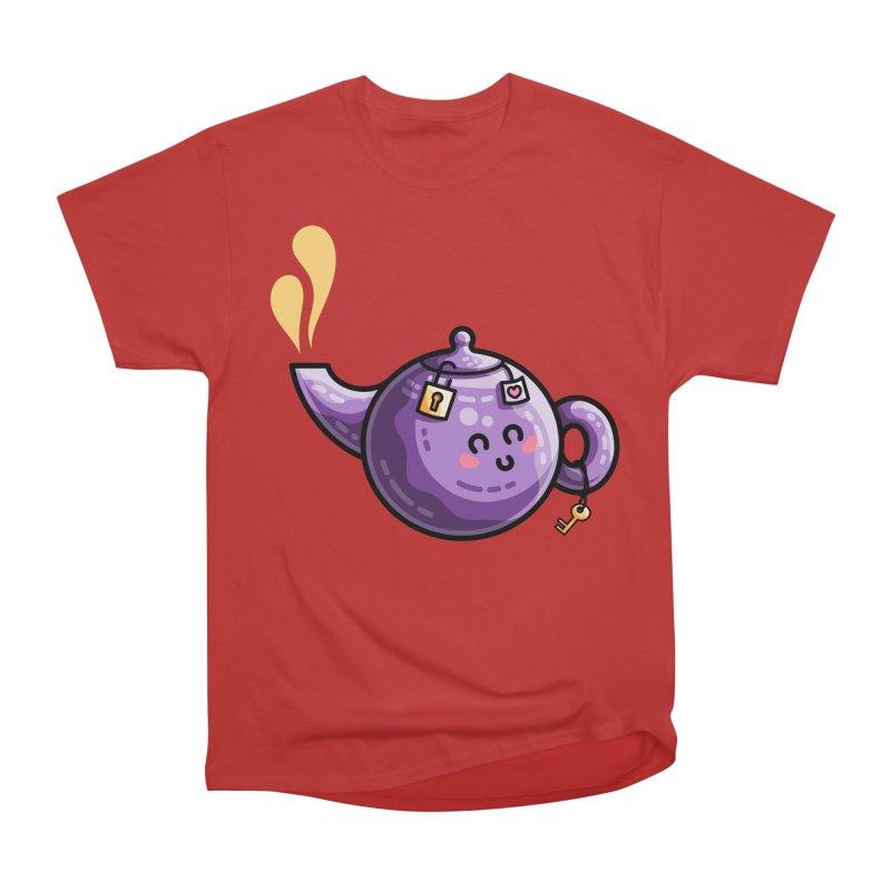 Kawaii Cute Safe-Tea Pun Men's Heavyweight T-Shirt by Flaming Imp's Artist Shop