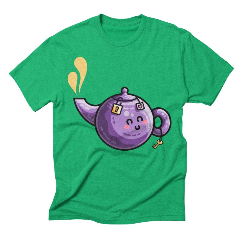 Kawaii Cute Safe-Tea Pun Men's Triblend T-Shirt by Flaming Imp's Artist Shop