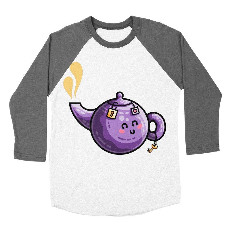 Kawaii Cute Safe-Tea Pun Men's Baseball Triblend Longsleeve T-Shirt by Flaming Imp's Artist Shop