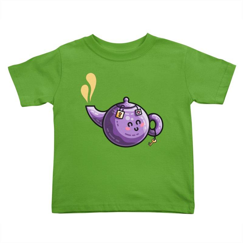 Kawaii Cute Safe-Tea Pun Kids Toddler T-Shirt by Flaming Imp's Artist Shop