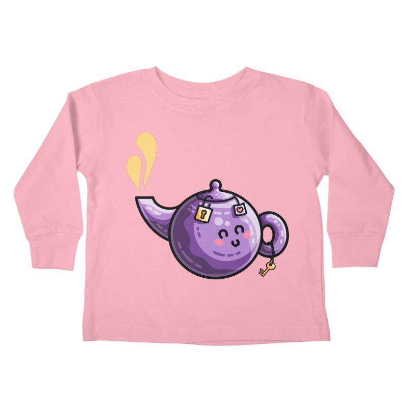 Kawaii Cute Safe-Tea Pun Kids Toddler Longsleeve T-Shirt by Flaming Imp's Artist Shop