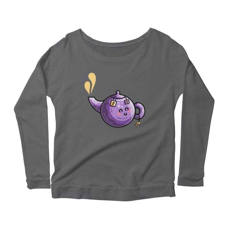 Kawaii Cute Safe-Tea Pun Women's Scoop Neck Longsleeve T-Shirt by Flaming Imp's Artist Shop