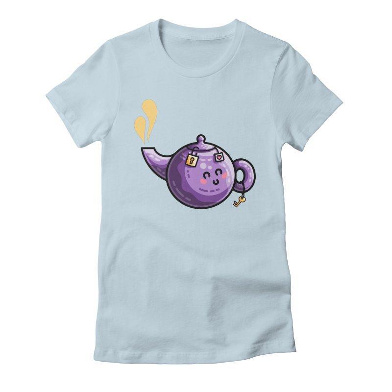 Kawaii Cute Safe-Tea Pun Women's Fitted T-Shirt by Flaming Imp's Artist Shop