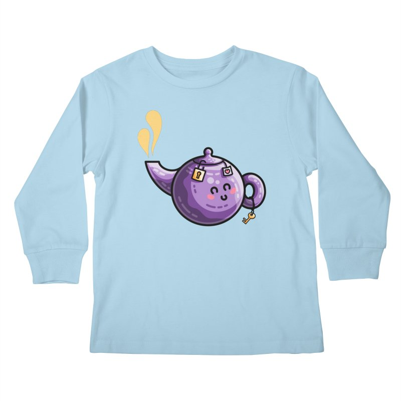 Kawaii Cute Safe-Tea Pun Kids Longsleeve T-Shirt by Flaming Imp's Artist Shop