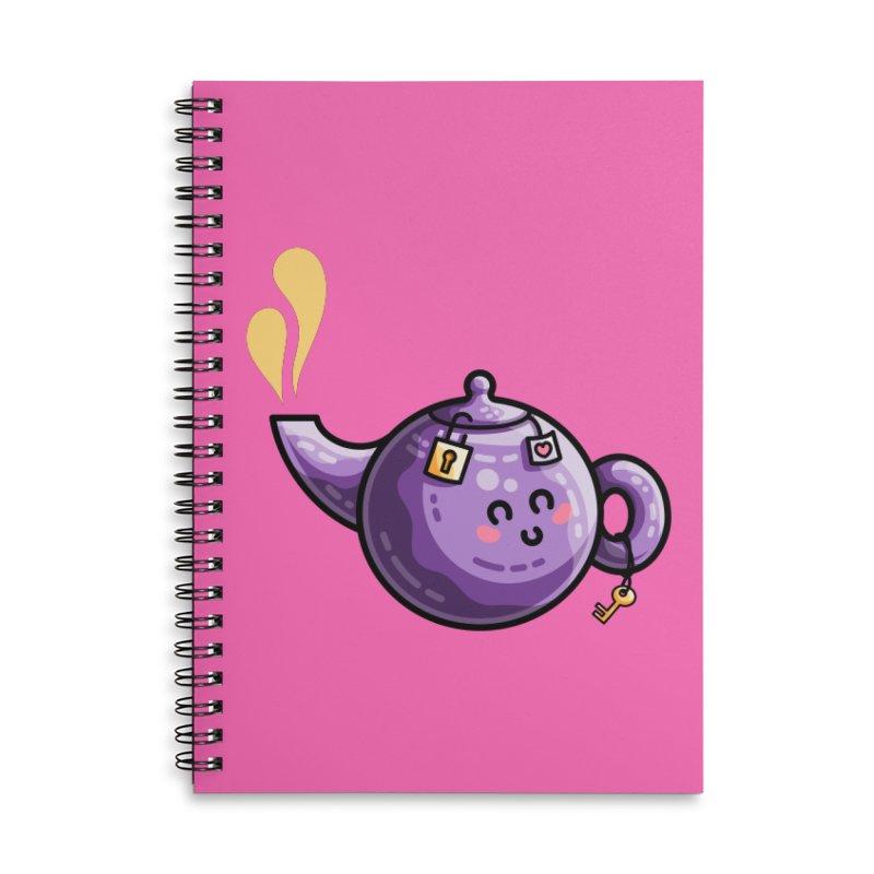 Kawaii Cute Safe-Tea Pun Accessories Lined Spiral Notebook by Flaming Imp's Artist Shop