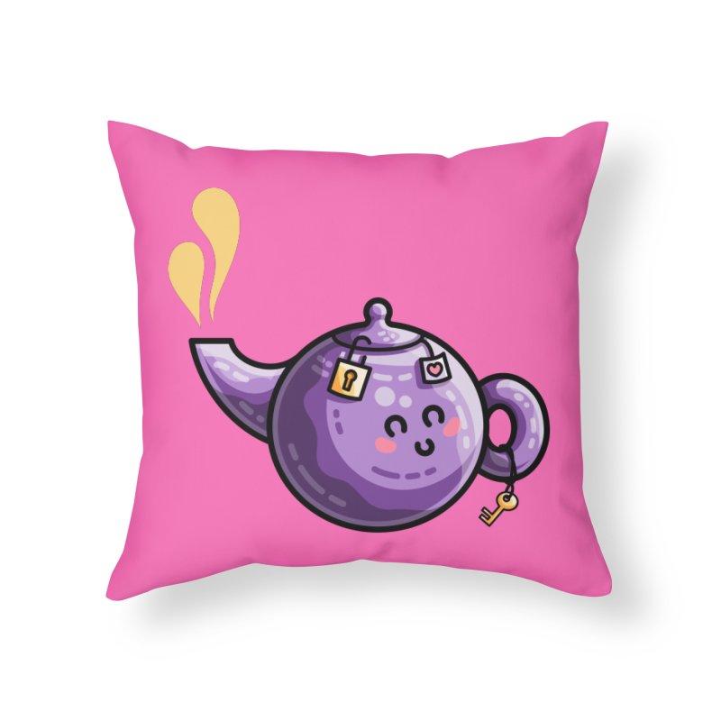 Kawaii Cute Safe-Tea Pun Home Throw Pillow by Flaming Imp's Artist Shop